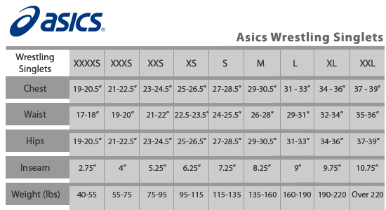 asics youth wrestling singlet size chart